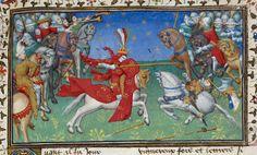 Alexander unhorsing Porrus - British Library Royal MS 20 B xx f53r (detail).jpg