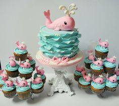 Whale cake and cupcakes