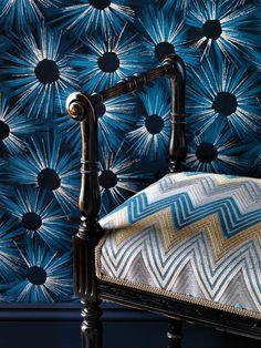 NEW ESTELLA wallpaper and BARGELLO VELVET by Nina Campbell at Osborne & Little