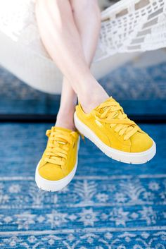 """The most perfect yellow shoes for spring and summer! Here are some other fashionable yellows, along with some more affordable variations of the look if you're looking to """"dip your toes"""" into yellow clothes this season! Yellow Sneakers, Yellow Shoes, Yellow Lace, Yellow Dress, Women's Sneakers, Women's Shoes, Me Too Shoes, Ballerinas, Outfits Tipps"""