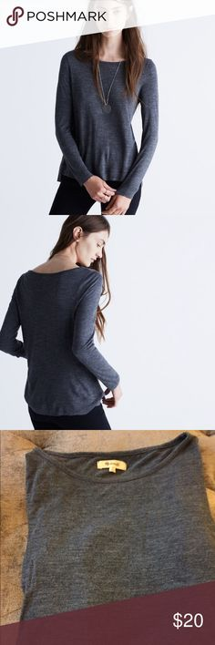 Madewell Anthem Boatneck Tee 100% viscose Anthem Boatneck Long sleeve Tee in size small from Madewell.  Heathered blue with minimal wash wear. Super soft viscose makes it a cozy but chic top for an effortless look. Madewell Tops Tees - Long Sleeve