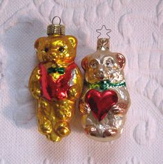 Vintage Teddy Bear Glass Tree Ornaments / Made in W. by vintagous