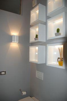 004-07-particolare-delle-mensole-luminose-disegnate-su-misura Ikea Lack Wall Shelf, Entryway Decor, Bedroom Decor, Wall Shelves Design, Interior Decorating, Interior Design, Love Home, Home Staging, Home Projects