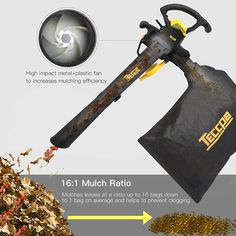 Leaf Blower Vacuum, TECCPO 12-Amp 250MPH 410CFM 3 in 1 Corded Electric Two-Speed Professional Sweeper/Vac/Mulcher with Powerful Motor and Metal Blade - TABV01G Garden Power Tools, Leaf Blower, Blade, Cord, Vacuums, Electric, Amp, Metal, Cable