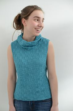 Damara summer top knitting pattern by Katya Frankel #sleeveless #cowl #knitting