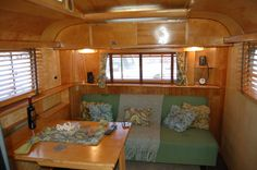 Pitcure of amazing wood ceiling in vintage 1948 Westcraft Sequoia Trailer