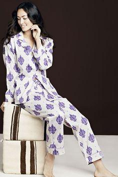30 Perfect Pairs Of Pajamas For Your Next Netflix Marathon #refinery29  Purple & White Womens Fleur De Lis Pajamas, France Meets NOLA'S LSU fans!  http://www.refinery29.com/cute-fall-pajamas#slide4