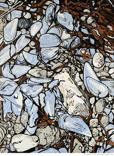 Sherrie York : Relief Printmaker High Tide Detritus Reduction linocut, Edition of 15 Image size x hand printed on Hosho paper Linocut Prints, Art Prints, Block Prints, Linoprint, Art Moderne, Wood Engraving, Woodblock Print, Painting Inspiration, Les Oeuvres