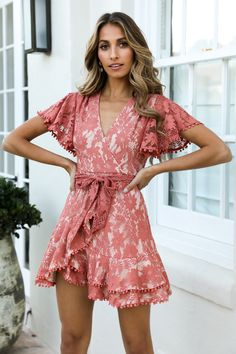Love, live and let go in our lacy Look What You Made Me Do Dress. Shop Now And Get Express Shipping Worldwide! Floral Playsuit, Cocktail Outfit, Mommy Style, Womens Fashion Online, Latest Fashion, Faux Wrap Dress, Latest Dress, Spring Dresses, Colorful Fashion