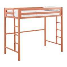 Twin Metal Loft Bed - Coral | Overstock.com Shopping - The Best Deals on Kids' Beds