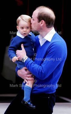 Prince William taking young Prince George to visit his newborn sister Princess Charlotte.