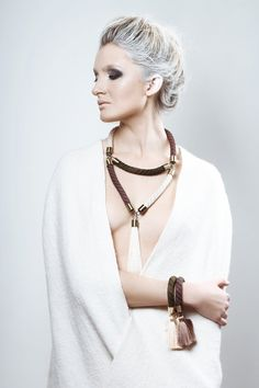 RIVULET tassel necklace in cream, olive green and brown. Long oversized necklace with tassel. on Etsy, $169.16