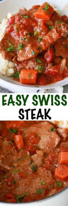 Swiss Steak is a perfect family dinner; it's e asy to make and can be cooked either in the oven or in the slow cooker. This dish has delicious tender beef in a rich tomato gravy and is equally delicious over rice, noodles or mashed potatoes! Slow Cooker Recipes, Meat Recipes, Crockpot Recipes, Cooking Recipes, Recipies, Cooking Fails, Recipes Dinner, Sirloin Recipes, Cooking Blogs