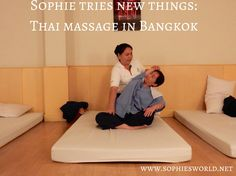 My first Thai massage experience consists of  1 hour and 15 minutes of alternate pleasure and pain. Fortunately, pleasure is the prevailing sensation – a stretchy sort of pleasure. My masseuse is small but by no means scrawny. She's athletic, muscular, strong – and reminds me most of all of the physical therapists at my local gym. Very reassuring. Will do it again!