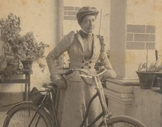 Bicycling Victorian Woman cabinet card by CrowCreekUnique