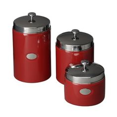 Red Contempo Canisters - Set of 3.Opens in a new window