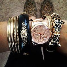 Michael Kors watch and a whole lot of bracelets. #fashion #style