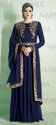 472713 Blue  color family Anarkali Suits in Faux Georgette fabric with Machine Embroidery, Sequence, Thread work .