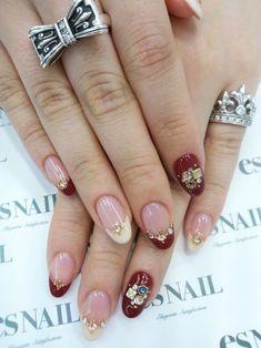 Nail Art - Nail Salon blog ~ AmebaGG daily es nail ... | image of autumn colors × bijou French nail ♪