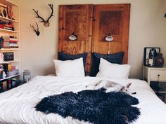My headboard, made out of two old wooden doors.
