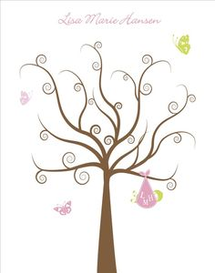 Guest fingerprint tree... great for baby shower or for hospital guests! Seems easy enough to DIY on a home computer!