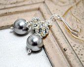 Crystal Bridal Earrings, Light Grey Pearl Earrings, Wedding Earrings, Swarovski Rhinestone, Bridal Jewelry, Bridesmaids Jewelry