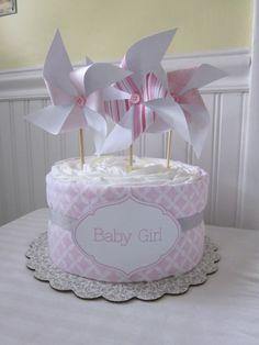 Pinwheel Diaper Cake-Baby Girl Diaper Cake with Pinwheels-Modern Diaper Cake