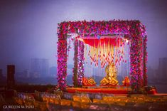 Don't go crazy looking at mandap designs all over the place. Stop, take a look at our Top 5 Mandap Design Ideas & get your Pitcure Perfect Wedding right! Desi Wedding Decor, Wedding Mandap, Outdoor Wedding Decorations, Floral Wedding, Wedding Colors, Wedding Ideas, Wedding Themes, Segundo Round, Mandap Design