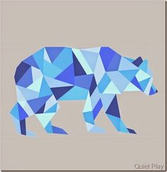Geometric Bear paper pieced pattern by Quiet Play