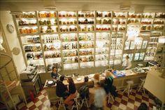 Interior of a trendy restaurant in the Monastiraki district of Athens