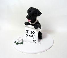 Custom Made Single Dog Wedding Cake Topper Clay by LaurieValko