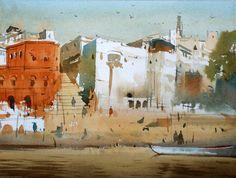 Vijay Achrekar Watercolor Architecture, Watercolor Landscape, Watercolor Paintings, Unique Buildings, Old Buildings, Paintings I Love, Urban Sketching, Urban Landscape, Paint Colors