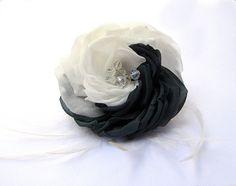 Black  and White Bridal Flower Hair by flowershair on Etsy, $58.00