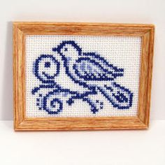 Framed Blue Bird Cross-Stitch | Stewart Dollhouse Creations