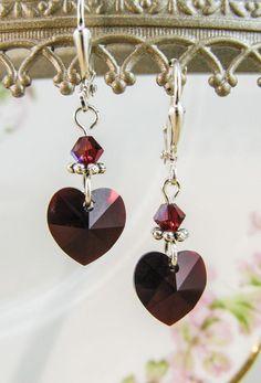 New w / Swarovski Red / Garnet Heart Charm Crystal Jewelry Earrings # . - New w / Swarovski Red / Garnet Heart Charm Crystal Jewelry Earrings # … - Custom Jewelry, Diy Jewelry, Gold Jewelry, Beaded Jewelry, Jewelry Accessories, Jewelry Design, Jewelry Making, Fashion Jewelry, Recycled Jewelry