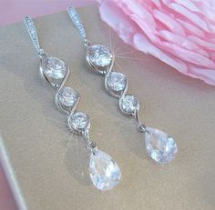 Long Wedding Earrings Bridal Earrings Crystal Bridal Jewellery CZ Crystal by CherryHillsBridal, $39.00 USD