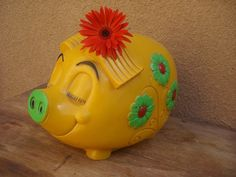 Large Groovy Vintage Yellow Piggy Bank by sofralma on Etsy, $24.00
