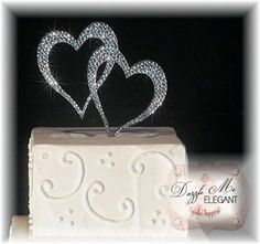 Double Heart Crystal Wedding Cake Topper Bride and Groom