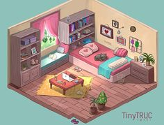 My dreamy room - Isometric, TiNy Truc Isometric Drawing, Isometric Design, Aesthetic Art, Aesthetic Anime, Aesthetic Bedroom, Habbo Hotel, Casa Anime, Bedroom Drawing, Bg Design