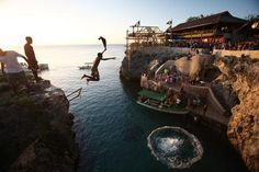 Cliff jumping at Rick's Cafe, Negril, Jamaica