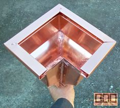 CBD& Custom Downspout Funnels, Leaderheads, or Scuppers Details Page Copper Gutters, Copper Metal, Roof Design, Sheet Metal, Metal Roof, Blacksmithing, Cladding, Miniatures, Ceiling Lights