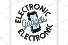 electronic gadgets emblem Graphics Color vintage electronic gadgets emblem. Vector illustration, EPS 10 by Netkoff