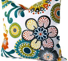 Orange, Turquoise and Green Mod Floral Decorative Pillow Cover, Accent pillow, Throw pillow, Made to order on Etsy, $30.00