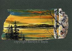 SOLD-ORIGINAL PAINTING on BIRCH Bark scene sunset by OriginalSandMore, $45.00
