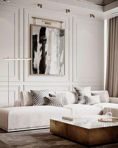Decor Home Living Room, Living Room Interior, Living Room Designs, Home Room Design, Home Interior Design, House Design, Apartment Interior, Apartment Design, Modern Classic Interior