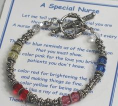 The Nurse Appreciation Bracelet is a great gift idea for a graduating nurse, nurse appreciation gift, or to thank a special nurse. Swarovski crystals and bali silver. Choose between a RN, LPN or Medical Charm.