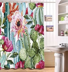 Decorations Shower Curtain Set by LB,Green Plants Cactus Flower Decor Bath Curtain inch Polyester Fabric Bathroom Curtains with Hooks Anti Bacterial Waterproof Cactus Shower Curtain, Shower Curtain Sets, Vert Turquoise, Tropical Bathroom, Cactus Decor, Cactus Art, Cactus Flower, Green Plants, My New Room