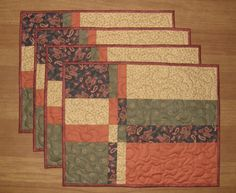 Fall Quilted Place Mats Quiltsy Handmade Earth Tone by HollysHutch