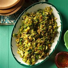 Shredded Gingered Brussels Sprouts Recipe -Even people who normally don't care for Brussels sprouts will ask for a second helping of these. —James Schend, Pleasant Prairie, Wisconsin