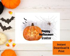 Halloween Card for Grandson, Printable Digital Download by PSILoveYouInspires on Etsy